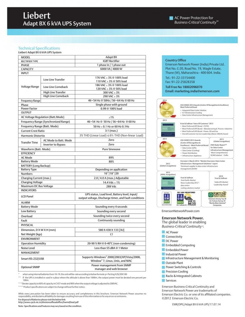 Liebert Adapt BX 6kVA UPS System_2